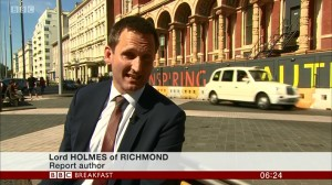 "Lord Holmes on BBC Breakfast - interview on Exhibition Road - onscreen ""Lord Holmes of Richmond, Report author"""
